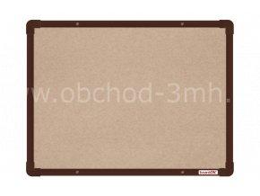Textilní tabule boardOK 60 x 45 cm, hnědý rám U20