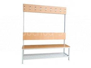 Šatní lavice s věšáky - jednostranná, 1800 x 1200 x 430 mm