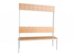 Šatní lavice s věšáky STATIK-15V, 1800 x 1500 x 430 mm