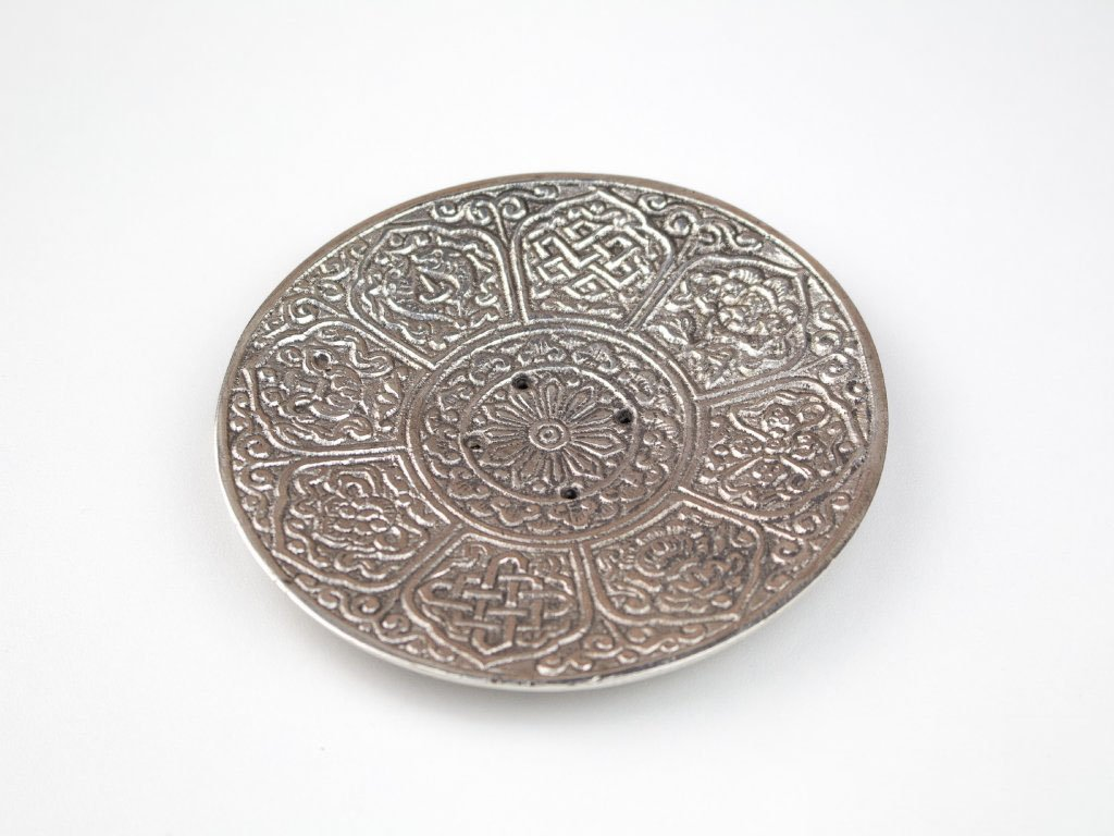 Stojánek kulatý kov, stříbrná patina