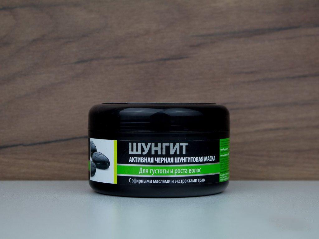 """Aktivní černá šungitová maska na vlasy """"Hustota a růst"""" s éterickými oleji 220ml"""