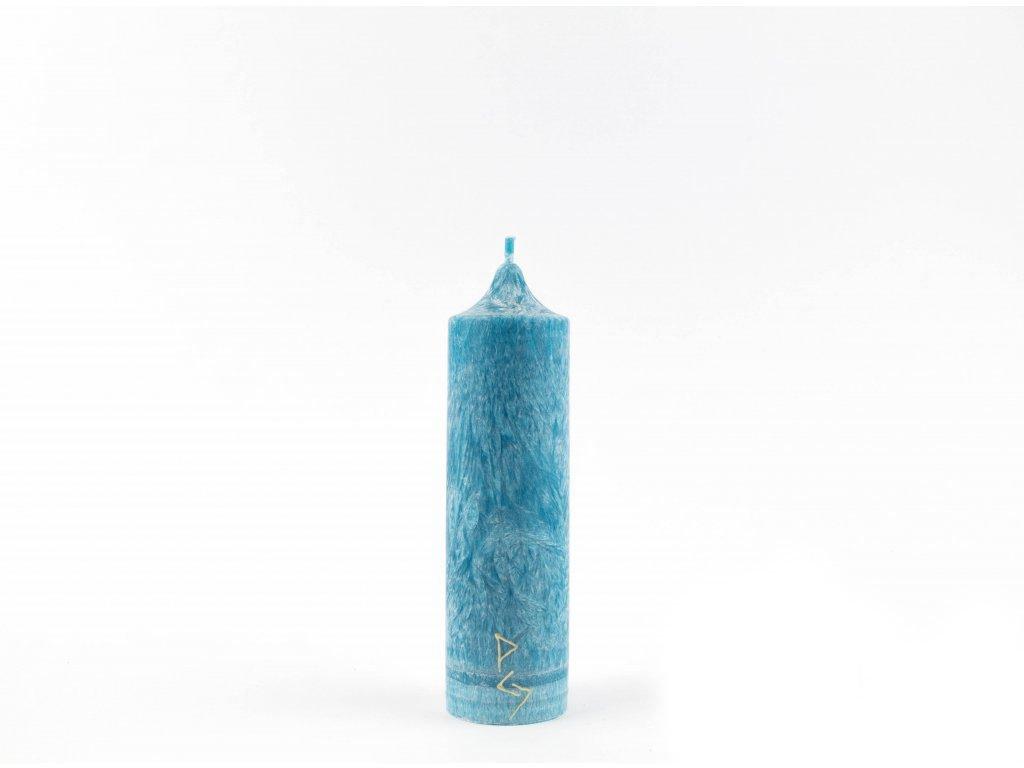 14 x 4 cm 5.čakra - Čakrová svíce tyrkysová