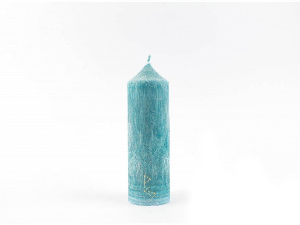 16 x 5 cm - 5.čakra - Čakrová svíce tyrkysová