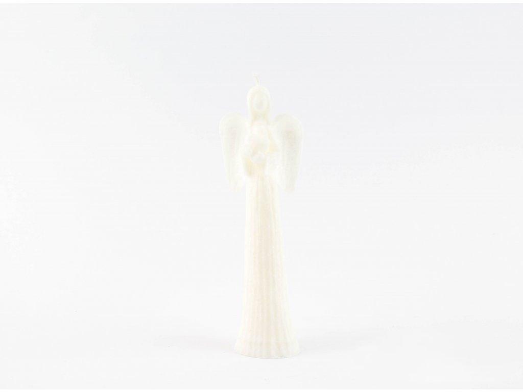 Anděl přání se srdcem 16 cm bílý