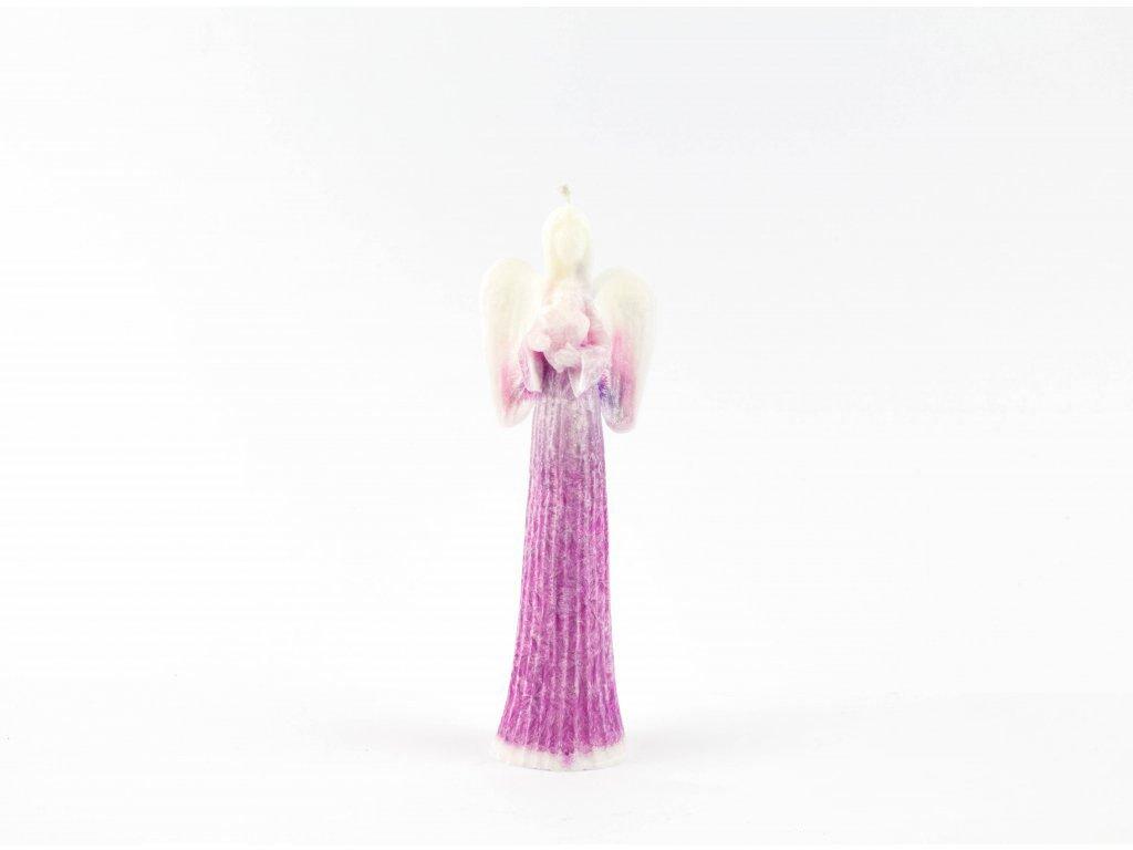 Anděl přání se srdcem 16 cm purpurový