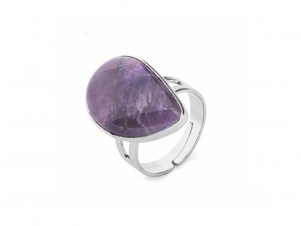 CSJA Reiki Healing Natural Stone Water Drop Rings for Women Mens Finger Ring Purple Pink Quartz.jpg 640x640 (2)