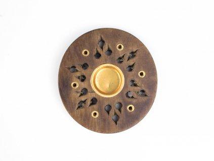 Stojánek na vonné tyčinky - talířek dřevo Hvězda 6 cm
