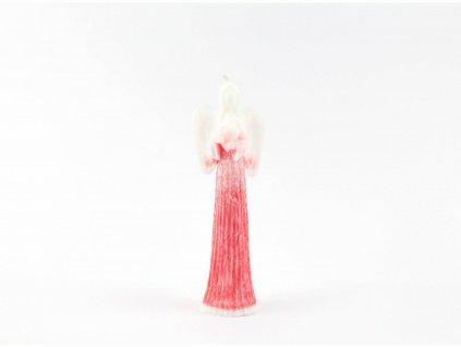 Anděl přání se srdcem 16 cm červený