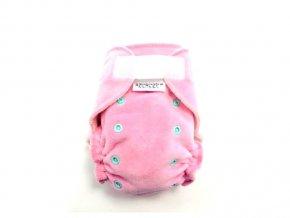 Breberky kalhotková plenka velur - Světle růžová, suchý zip