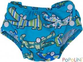 Plenkové plavky Popolini modré s krokodýly