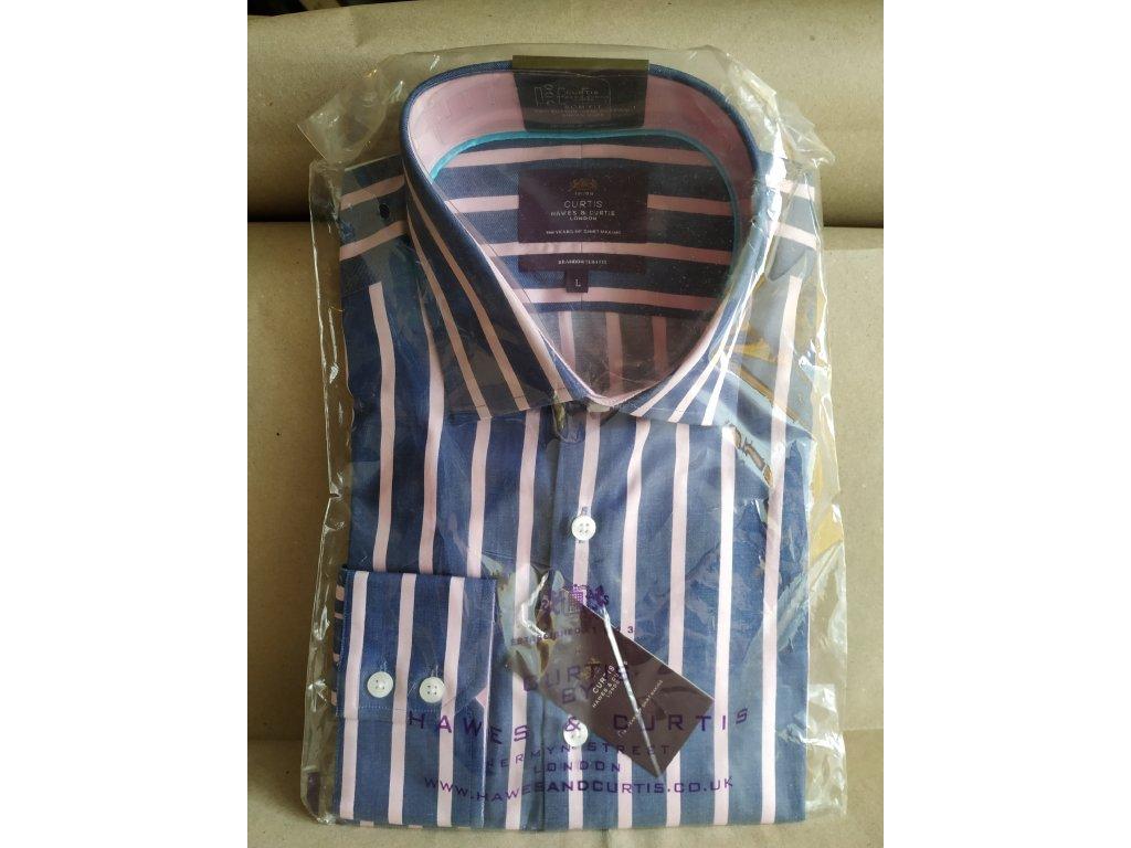 Modro-růžově pruhovaná košile Hawes & Curtis L