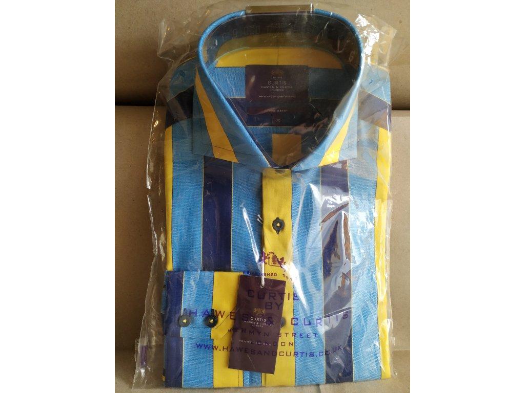 Modro-žlutě pruhovaná košile Hawes & Curtis M
