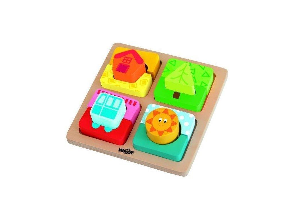 Destička s puzzle tvary ''Slunce domova'' (Woody, od 24 měs.)