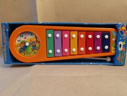 Xylofon s hodinami - oranžový (HR2.3)