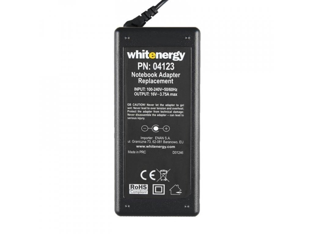 whitenergy ac adapter 16v 375a 60w plug 65x44mm pin