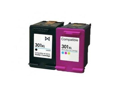 Náplně do tiskárny HP CH563EE + HP CH564EE, (HP 301 XL, černá + HP 301 XL, barevná) - kompatibilní (neoriginální kazety)