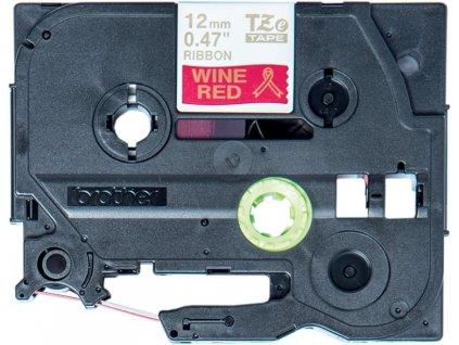 Brother TZE-RW34, 12mm, zlatý tisk/červený podklad - originální páska pruhovaná