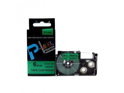 Casio XR-6GN1, 6mm, černý tisk/zelený podklad - originální páska nelaminovaná