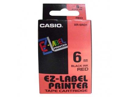 Casio XR-6RD1, 6mm, černý tisk/červený podklad - originální páska nelaminovaná