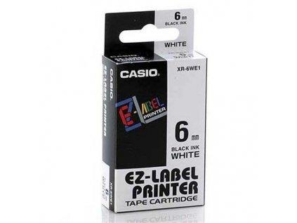 Casio XR-6WE1, 6mm, černý tisk/bílý podklad - originální páska nelaminovaná