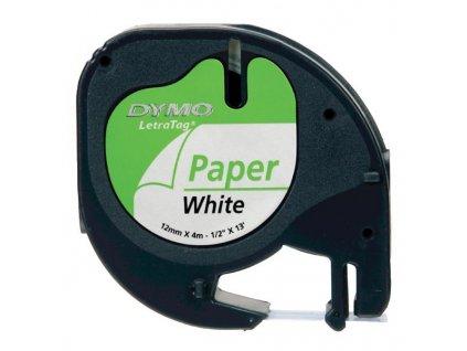 Dymo LetraTag 59421, S0721500, 12mm, černý tisk/bílý podklad - originální páska