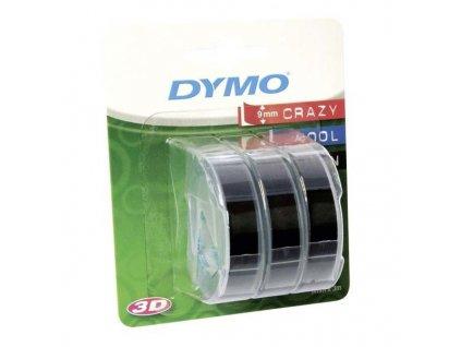 Dymo 3D S0847730, 9mm, bílý tisk/černý podklad - 3ks, originální páska