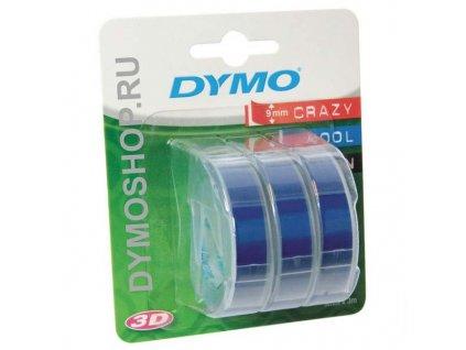 Dymo 3D S0847740, 9mm, bílý tisk/modrý podklad - 3ks, originální páska