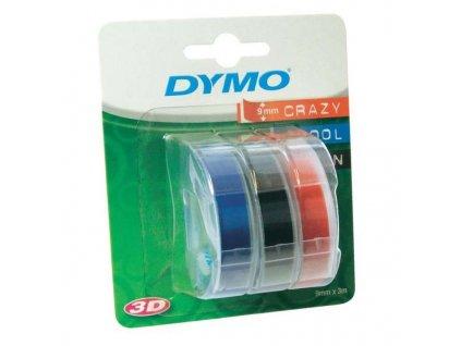 Dymo 3D S0847750, 9mm, bílý tisk/černý, modrý, červený podklad - 3ks, originální páska