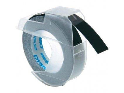 Dymo 3D S0898130, 9mm, bílý tisk/černý podklad - 10ks, originální páska