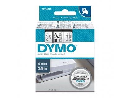 Dymo D1 40910, S0720670, 9mm, černý tisk/transparentní podklad - originální páska