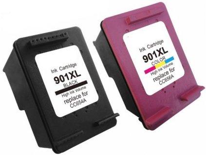 HP 901 XL (CC654AE + CC656AE) černá+barevná - kompatibilní