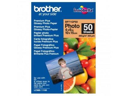 6305 brother premium glossy photo paper foto papir leskly bily 10x15cm 260 g m2 50 ks bp71gp50 inkoustovy