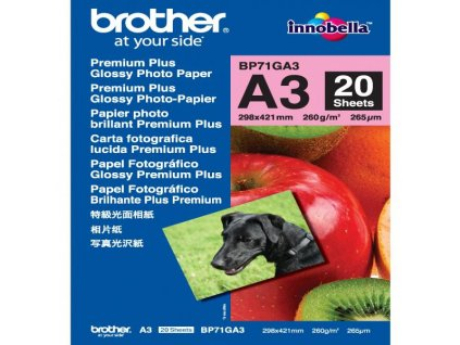 6362 brother glossy photo paper foto papir leskly bily a3 260 g m2 20 ks bp71ga3 inkoustovy