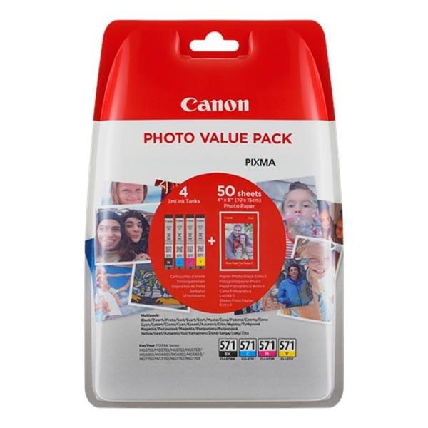 Originální inkoustová náplň Canon CLI-571 BK/C/M/Y + 50x PP-201, multipack (0386C006)