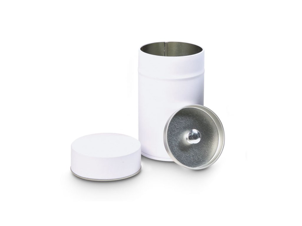 Bílá plechovka na čaj 80g s vnitřním víčkem