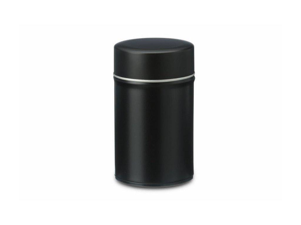 Černá plechovka na čaj 80g s vnitřním víčkem