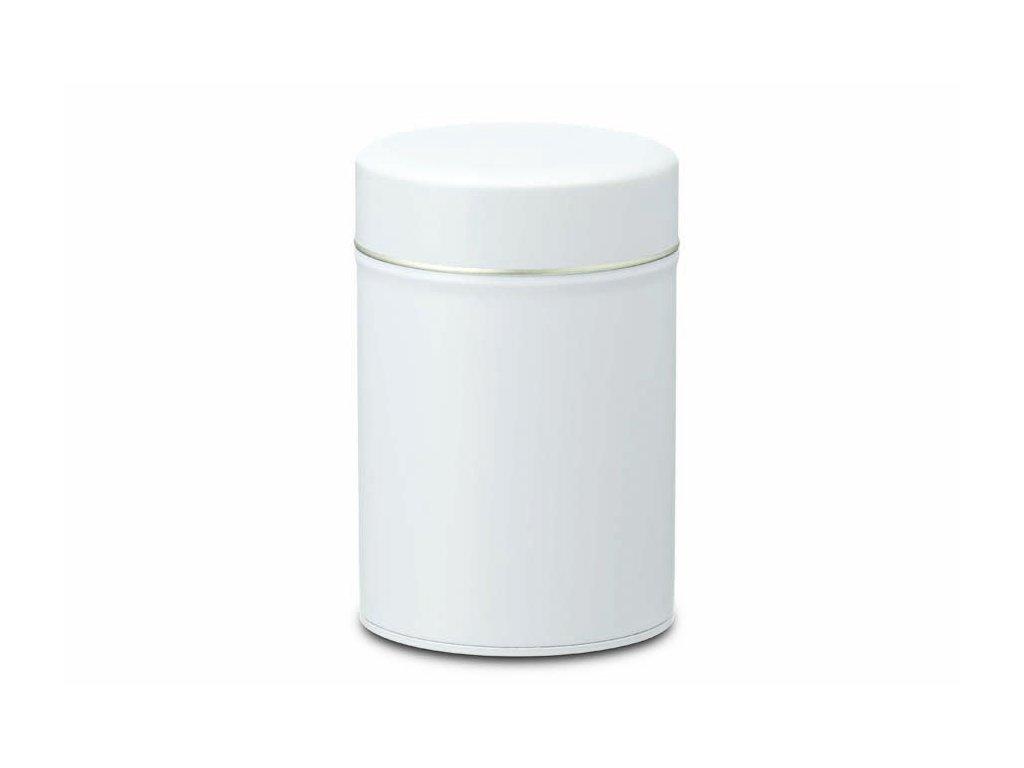 Bílá plechovka na čaj 150g s vnitřním víčkem