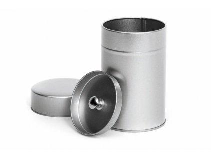 Bílá plechovka na čaj 100g s vnitřním víčkem