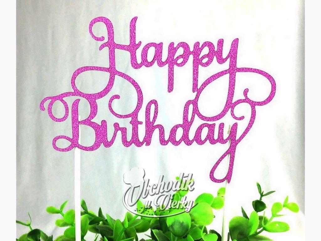 Zapichovač Happy Birthday ružový