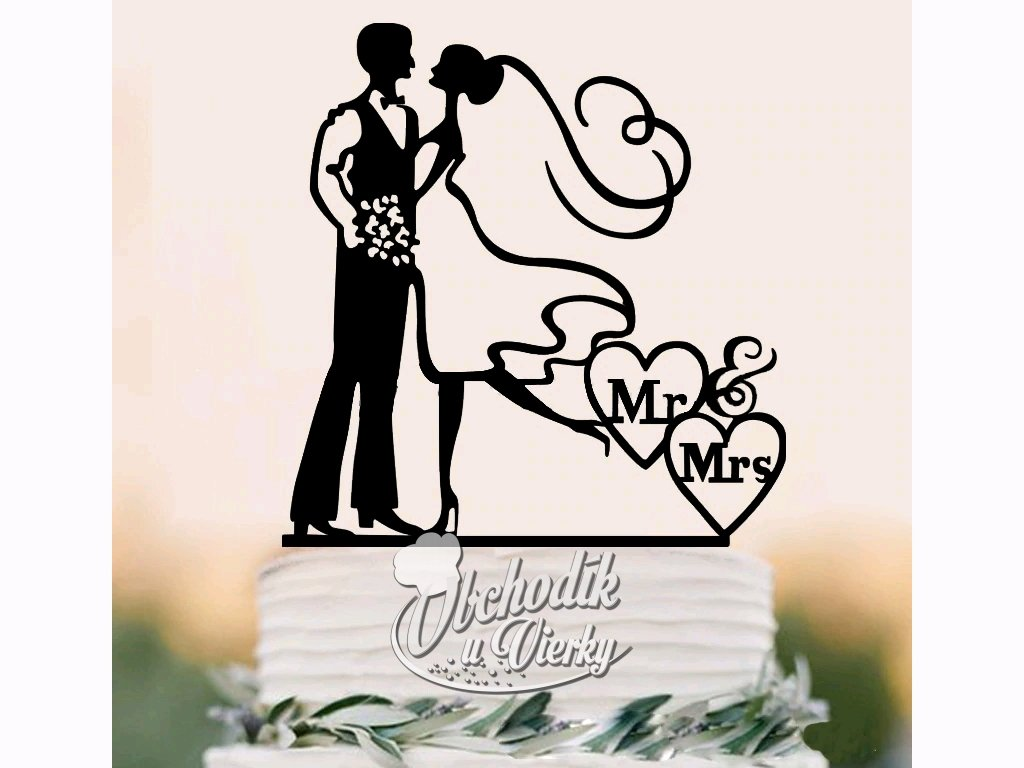 Zapichovač do torty svadobný pár Mr&Mrs 1