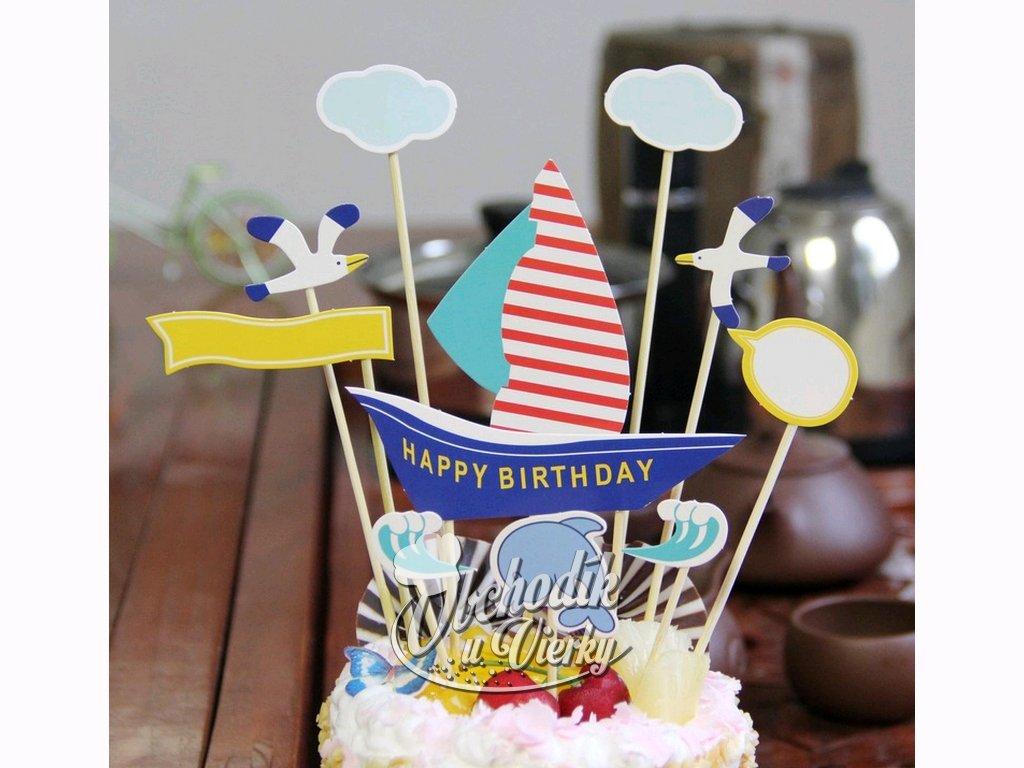 Zapichovač Happy Birthday námornícky motív