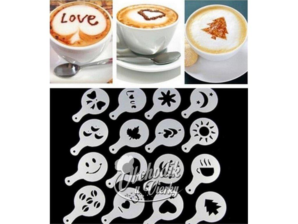 Presýpacie podložky 16 ks stencil barista šablóny na kávu 1