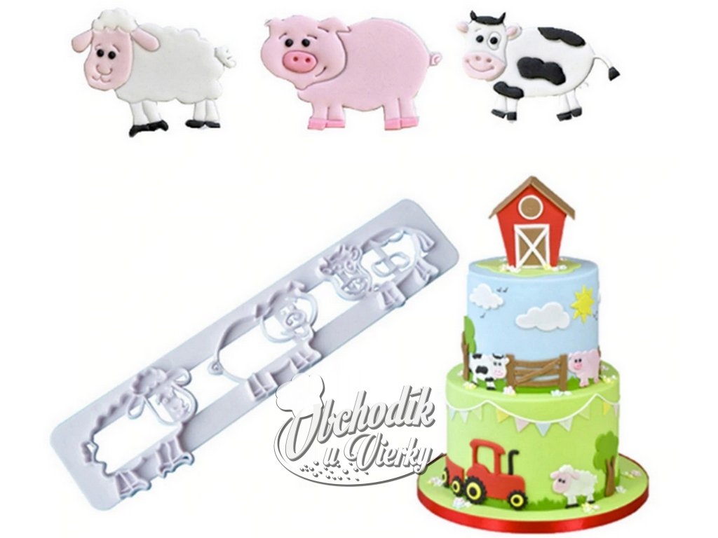 FARMA zvieratká (ovečka, prasiatko, kravička) otláčacia lišta na marcipán 1