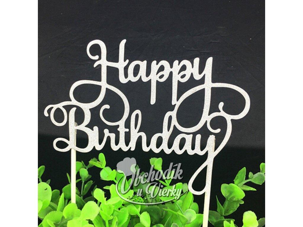 Zapichovač Happy Birthday strieborný 2