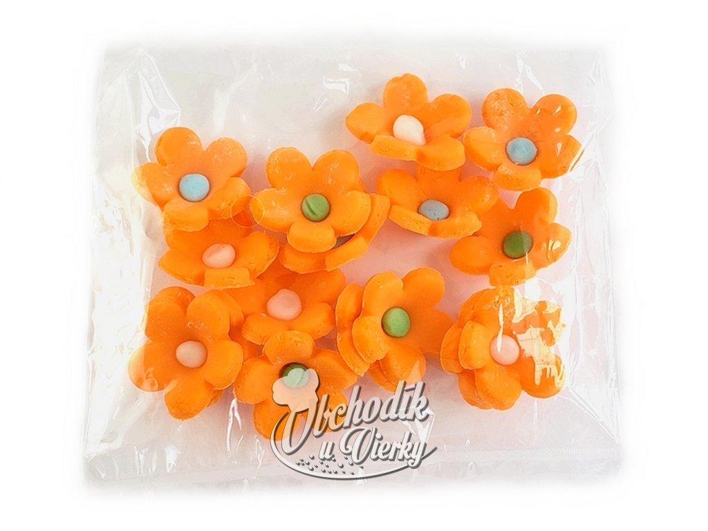 Kvietky (z modelovacej hmoty) 16 ks oranžové
