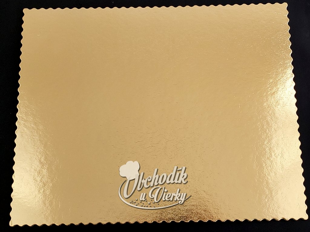 Podložka pod tortu obdĺžniková zlatá pevná s ozdobným okrajom 40x50 cm G2400
