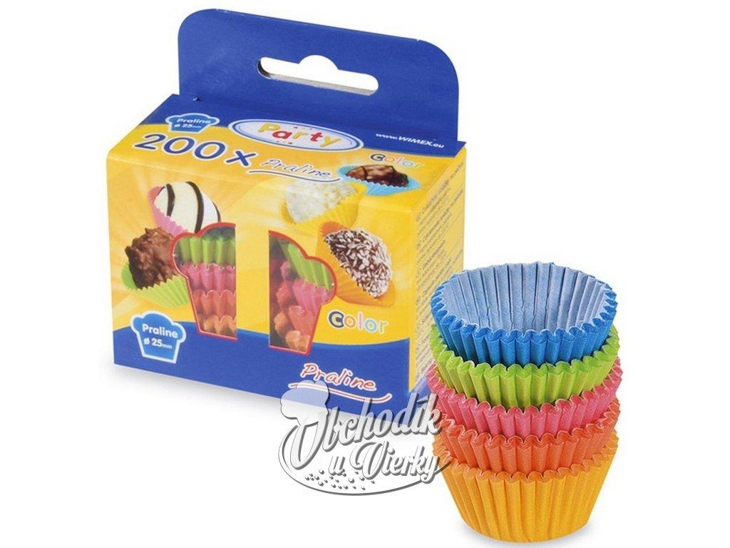 Papierové košíčky MINI na pralinky farebné 2,5x1,8 cm 200 ks