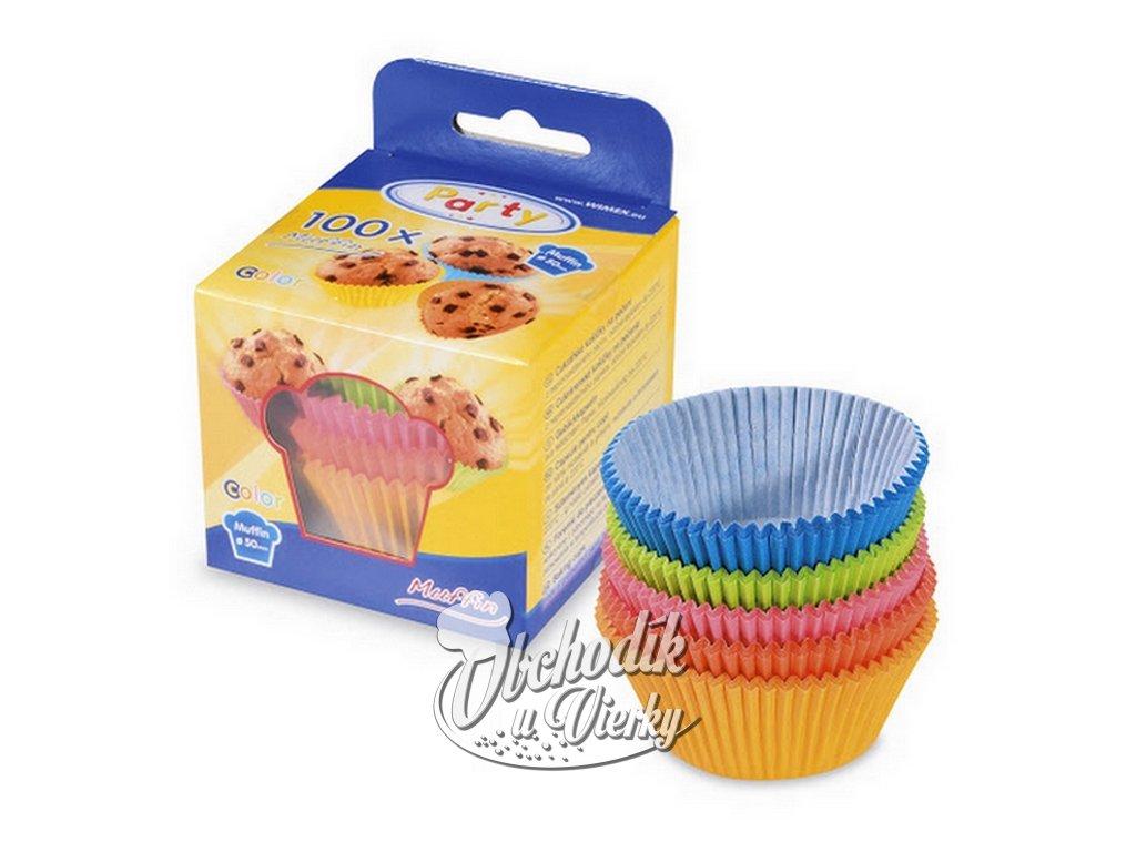 Cukrárske papierové košíčky farebné 5x3 cm 100 ks