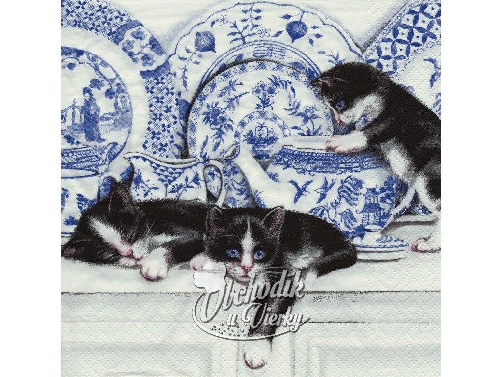 Mačiatka pri porceláne servítky 30x30cm 3.vrstvové 20 ks