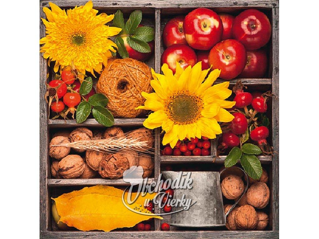 Plody jesene servítky 30x30cm 3.vrstvové 20 ks